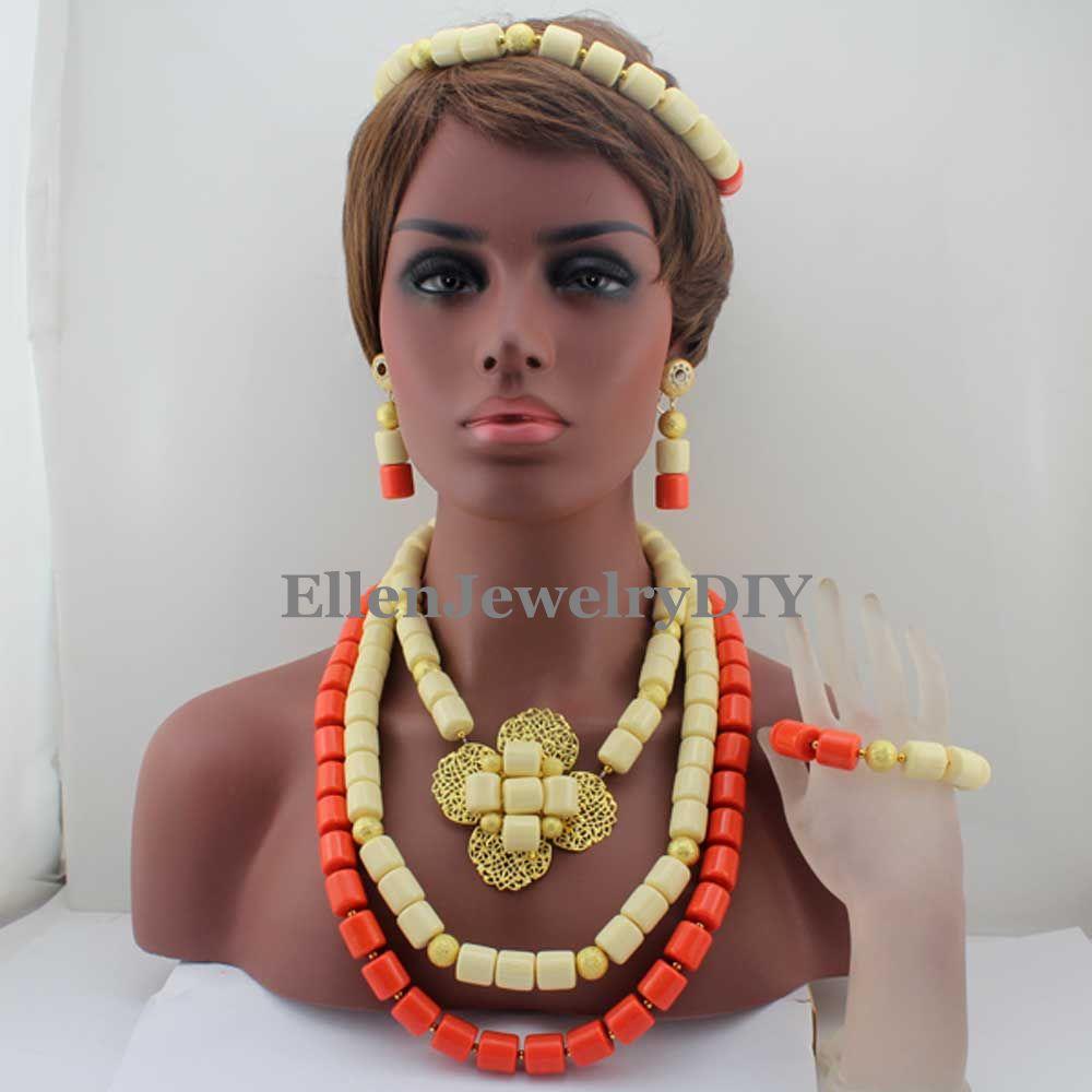 Amazing Nigerian Wedding Coral Beads Necklace Bracelet Earring African beads Jewelry Set Bridal beaded Jewelry Set W13113 цена