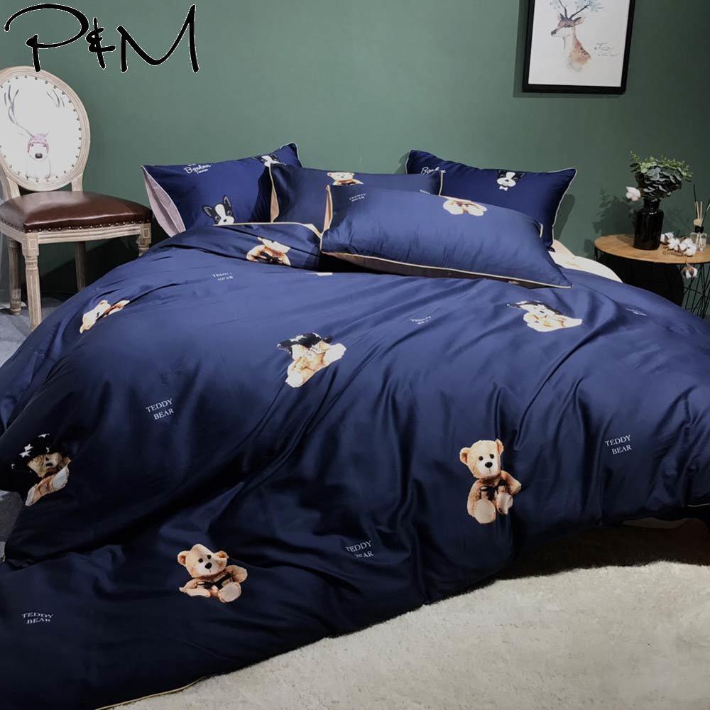 2019 Cartoon mignon ours jouet brun bleu foncé housse de couette ensemble reine roi taille literie drap plat coton égyptien ensemble de literie