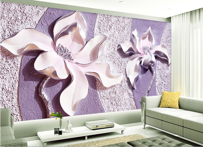 Large Murals Purple Flower Wallpaper Murals for Sofa TV Background