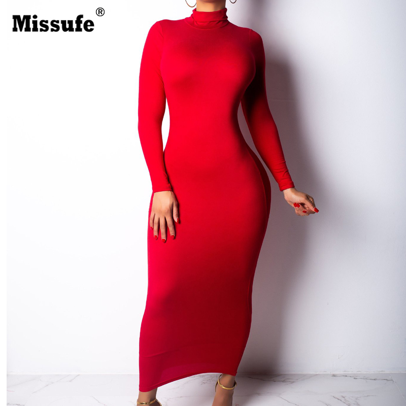Missufe  Maxi Autumn Winter Dress Long Sleeve Women Red Black White Casual Club Pencil Sexy Bodycon Robe Long Dress Turtle Neck