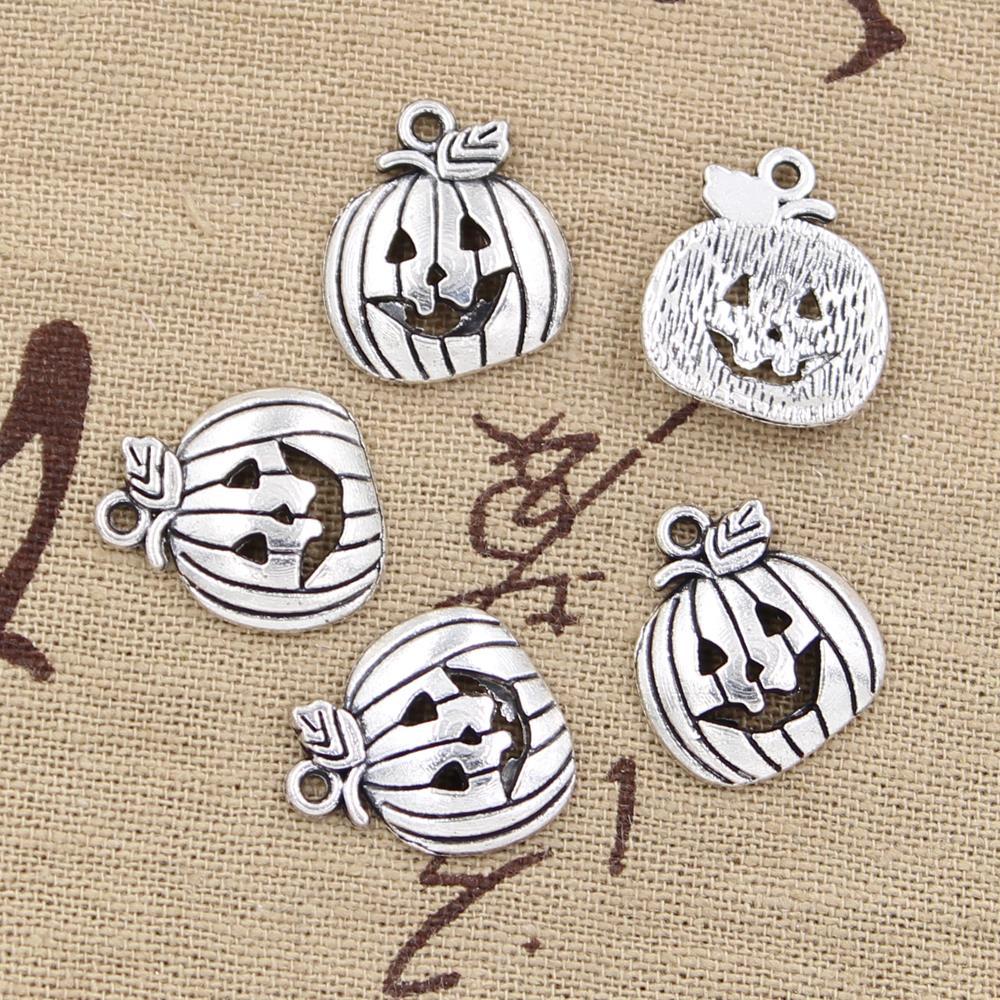 20pcs Charms pumpkin jack lantern halloween 18*15mm Antique Silver Plated Pendants Making DIY Handmade Tibetan Silver Jewelry
