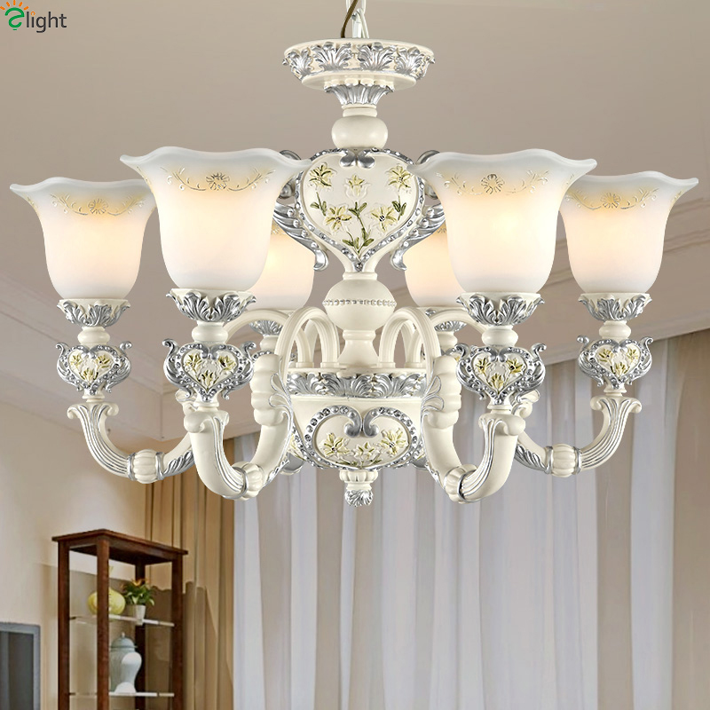 European Ivory Resin Led Chandeliers Lighting Glass Living Room Led Pendant Chandelier Lights Dining Room Hanging Light Fixtures modern lustre crystal led chandelier lighting chrome metal living room led pendant chandeliers light led hanging lights fixtures