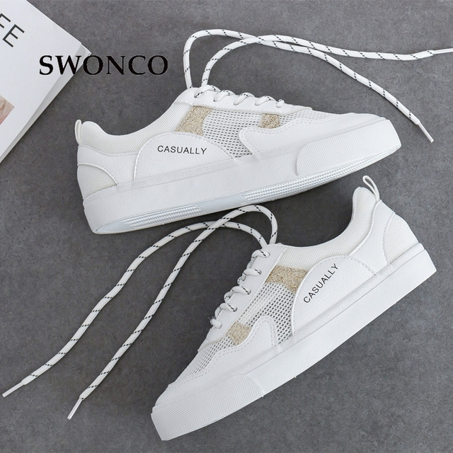 221129be6970 SWONCO Women s White Sneakers 2019 Spring Summer Breathable Mesh Casual  Sneakers For Woman Leather Female Shoes Woman Sneaker