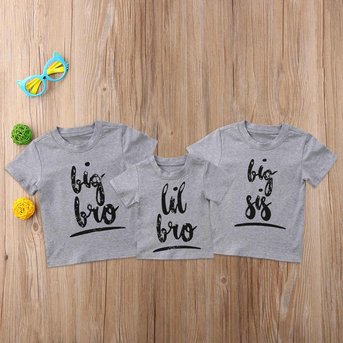 夏カジュアルリトルビッグ姉妹兄弟マッチングtシャツベビーキッズ男の子女の子綿トップスtシャツ服