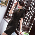 New Arrival Silk Satin Cheongsam Chinese Style Women's Knee Length Dress Elegant Qipao Vestidos Size M L XL XXL XXXL