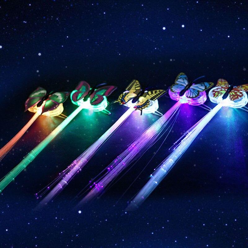 10 шт. смешной Дамы Красочный светильник бабочки косички светодиодный парики светящиеся вспышки светодиодный зажим для волос декоративные шпильки для волос Ligth Up Show