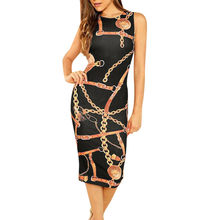 Womens Summer Sexy Club Slim Sheath Sleeveless Knee-Length Dress Chain Print Bodycon Evening Party O Neck Formal Dresses #BL5(China)