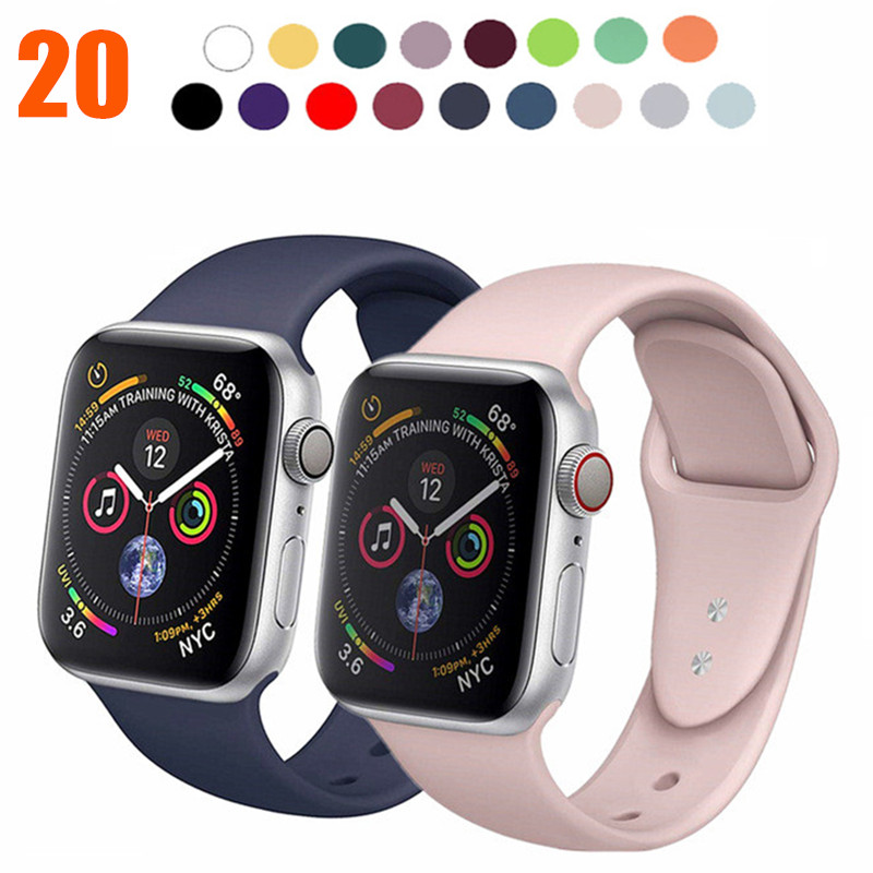 20 Colors Sports Soft Silicone Band For Apple Watch 38mm 42mm 40mm 44mm Bracelet Replace Watch Strap For IWatch Series 1 2 3 4