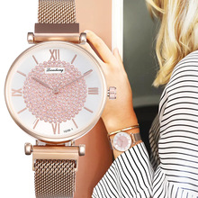 Diamond Design Women Watches Rose Gold Quartz Wrist Watch Fashion Round Dial Stainless Steel Band Clock Gifts relogiosfeminino lasperal cute colorful owl dial women s watches with stainless steel slim trap fashion wrist watch women girls quartz clock