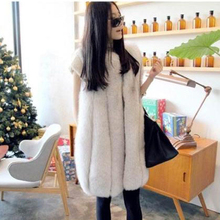 genuine fox fur coat womens long Luxurious jacket  full leather blue vest winter free shipping EMS TF0197