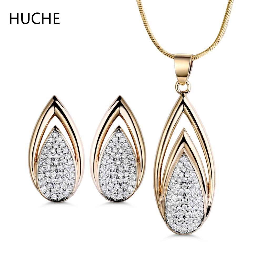 HUCHE Fashion Wedding Bridal Jewelry Sets Rhinestone Crystal Jewelery Set Earrings Necklace Pendant for Women Water