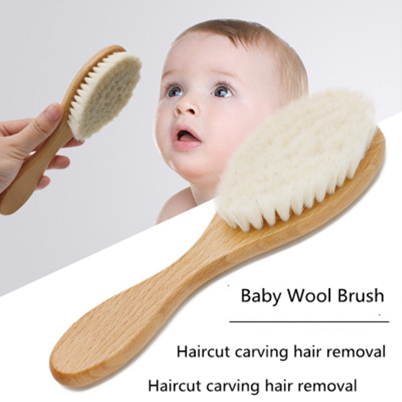 Baby Hair Brush Comb Baby Girls Boys Massager Natural Hairbrush Wooden Brush Plastic Massager Natural Wool Head Comb