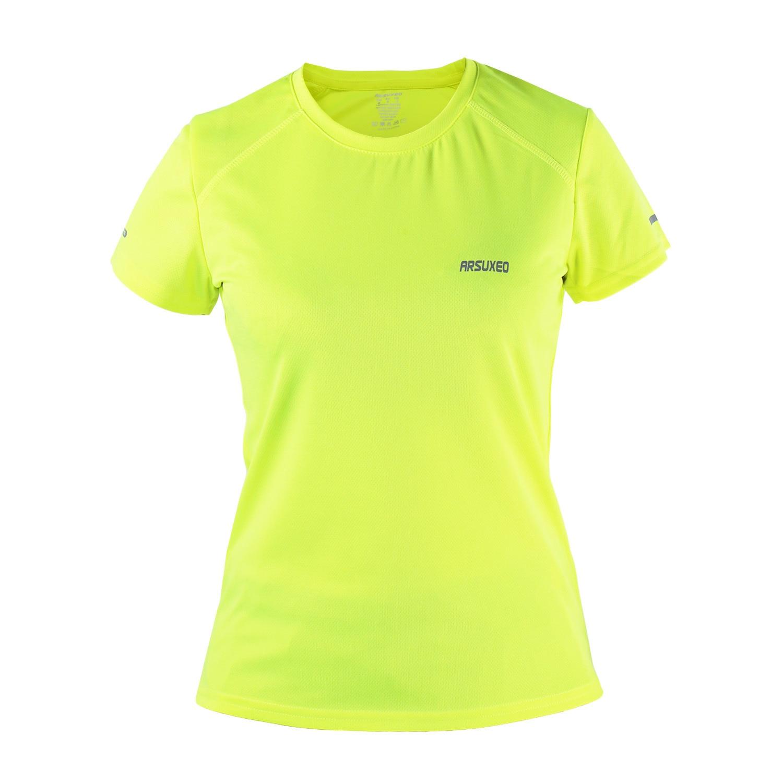 ARSUXE المرأة جمنازيوم قميص قصير الأكمام جاف صالح رياضة تي شيرت رياضة بدلة رياضة اللياقة البدنية التي شيرت ملابس الجري جيرسي الرياضية