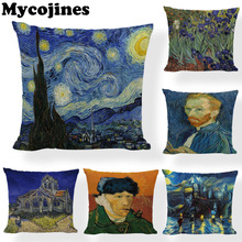 Famous Paintings Cushion Cover Van Gogh Self-portrait Pillowcase The Starry Night Sunflowers Home Decorative Throw Pillows Cojin