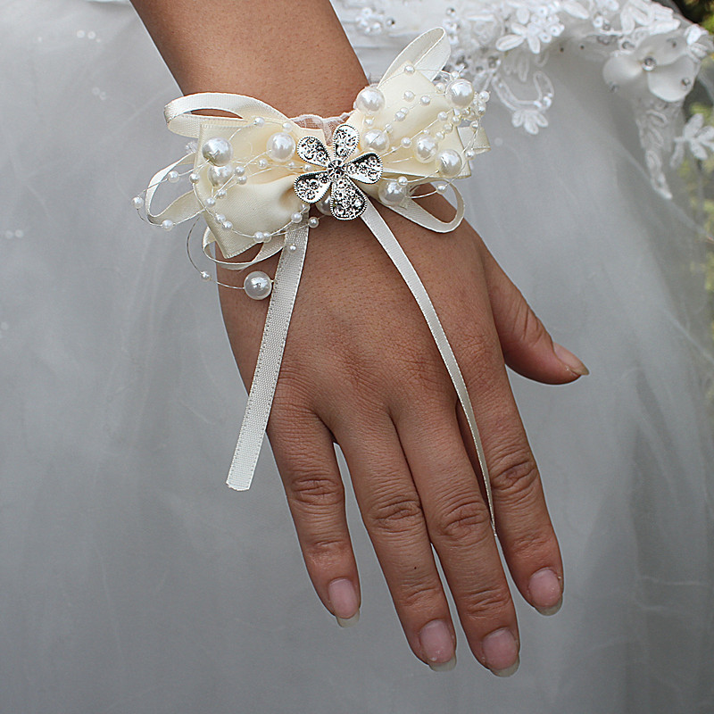 Ivory Marfim Bow Tie Pearl Beaded Wedding Wrist Flowers Bridesmaid de Marriage Ribbon Crystal Corsages Wristband Flowers SW175-Z