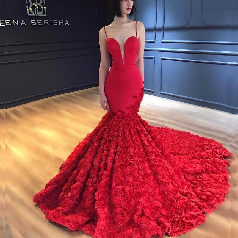 Robe De Mariee Sexy Backless Mermaid Wedding Dress 2019 3D Flowers Lace Appliques Wedding Gowns Deep V-Neck Bride Dresses