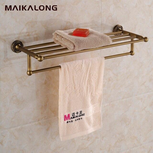 Estilo vintage de ba o toallero estante de la toalla de for Toallero bronce