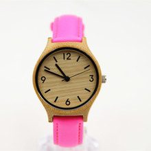Luxury Women's Natural Bamboo Wood Watch Quartz Genuine Leather Wristwatches New Arrival With Gift Christmas Gift Box