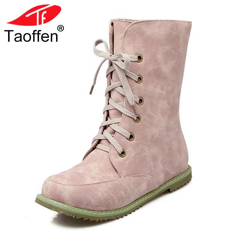 TAOFFEN New Woman Round Toe Flat Mid Calf Boots Women Fashion Lace Up Martin Boot Spring Autumn Winter Shoes Footwear Size 30-48 2017 spring phoenix denim women embroidered lace up cloth mid calf boot platform winter shoes casual canvas femal classic soft