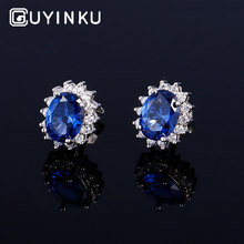 GUYINKU Classic Princess Gemstone Stud Earrings Real 925 Silver Jewelry For Women Birthday Gift Fine Customizable