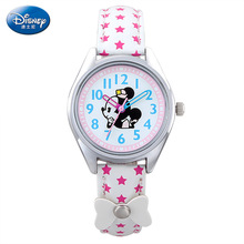 Disney brand children s watches Minnie Girl quartz 30m waterproof kids watches Leather wrist watch Cartoon