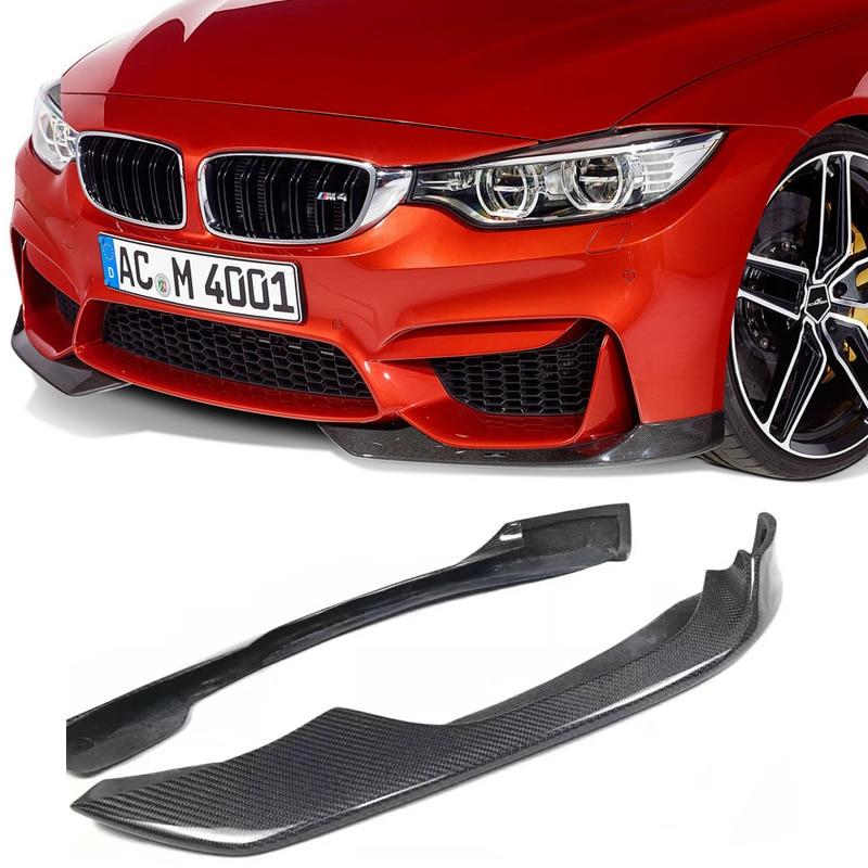 2Pcs AC Style Carbon Fiber Front Bumper Splitter Lip For BMW F80 M3 F82 M4 2014+