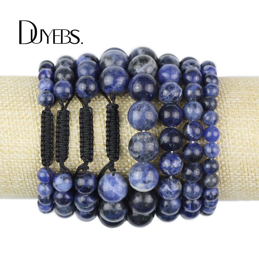 DUYEBS Natural Sodalite Stone Bracelet Men 6/8/10/12MM Beads Braided/Elastic Rope Women Charm Bangle Fashion Lovers jewelry Gift