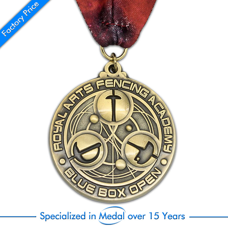 China OEM antique gold medals cheap Customized Zinc Alloy 3D antique brass Medal high quality antique silver medals in Non currency Coins from Home Garden