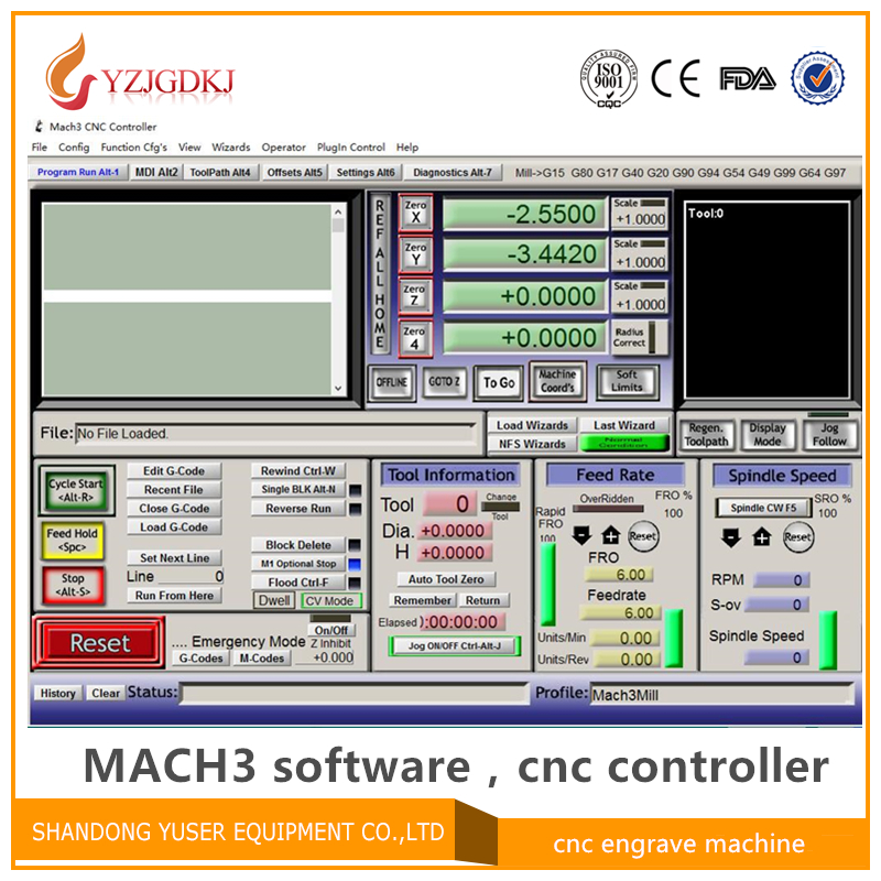 Engraving Machine Mach3 Controller Software, English Mach3 With Lience Cnc Controller Software Version R3.041 Send By Email