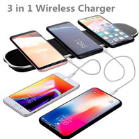 3 in 1 Fast Qi Wireless Charger Charging Pad with 2 USB Charging Adapter for iPhone 8/8 Plus/X for Samsung Galaxy S6/S7/S8/Note8