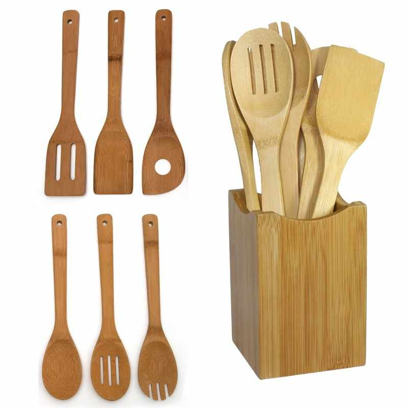 6PCS Teak Wooden Soup Bamboo Spoons Kitchen Cooking Utensil Rice Spoon
