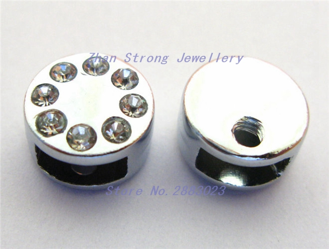 Wholesale price 10pcs-50pcs-100pcs round head clasp 8mm zinc alloy rhinestone slide Char ...