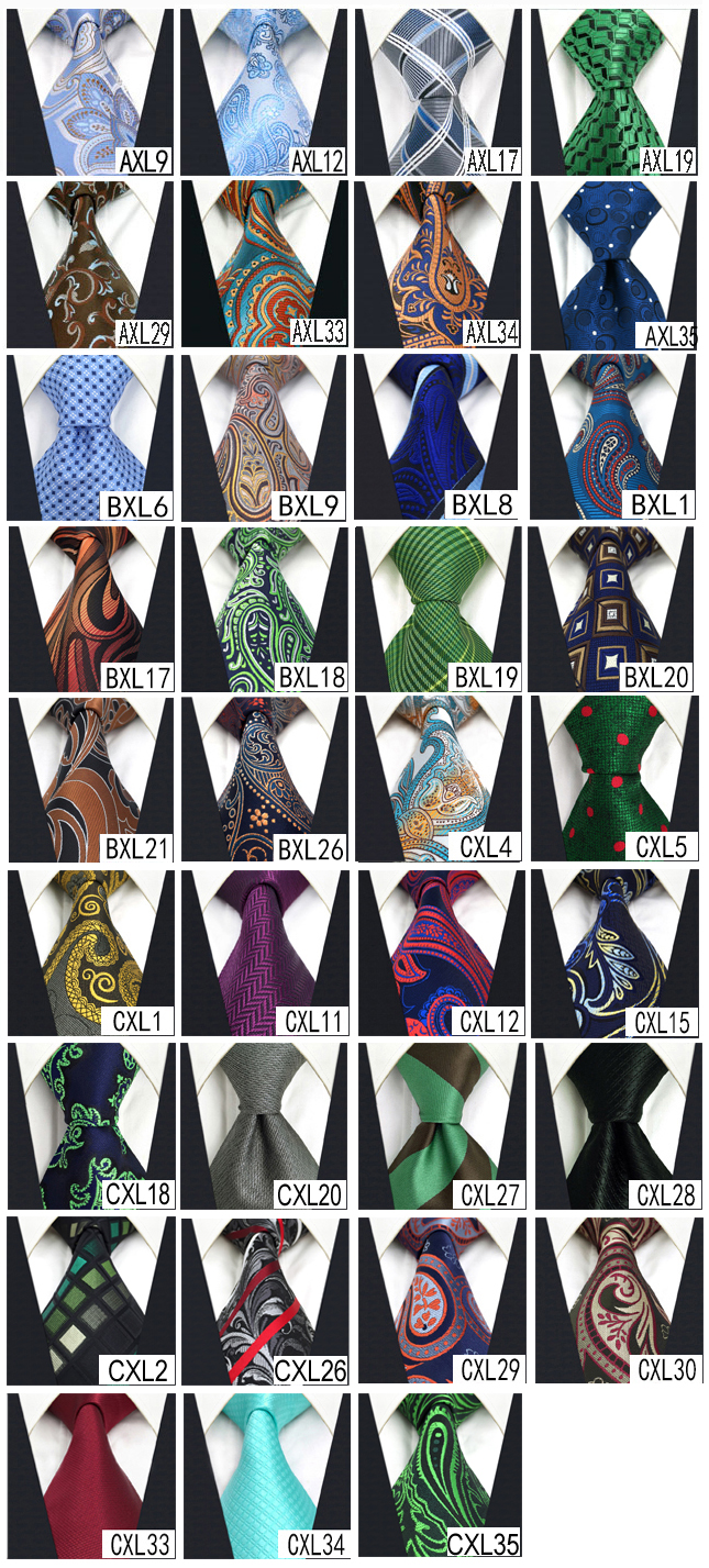 Image 4 - Wholesale Assorted Mens Ties Necktie Extra Long Size 63 inches Free Shipping 100% Silk Wedding Fashion Mixed Lot-in Men's Ties & Handkerchiefs from Apparel Accessories