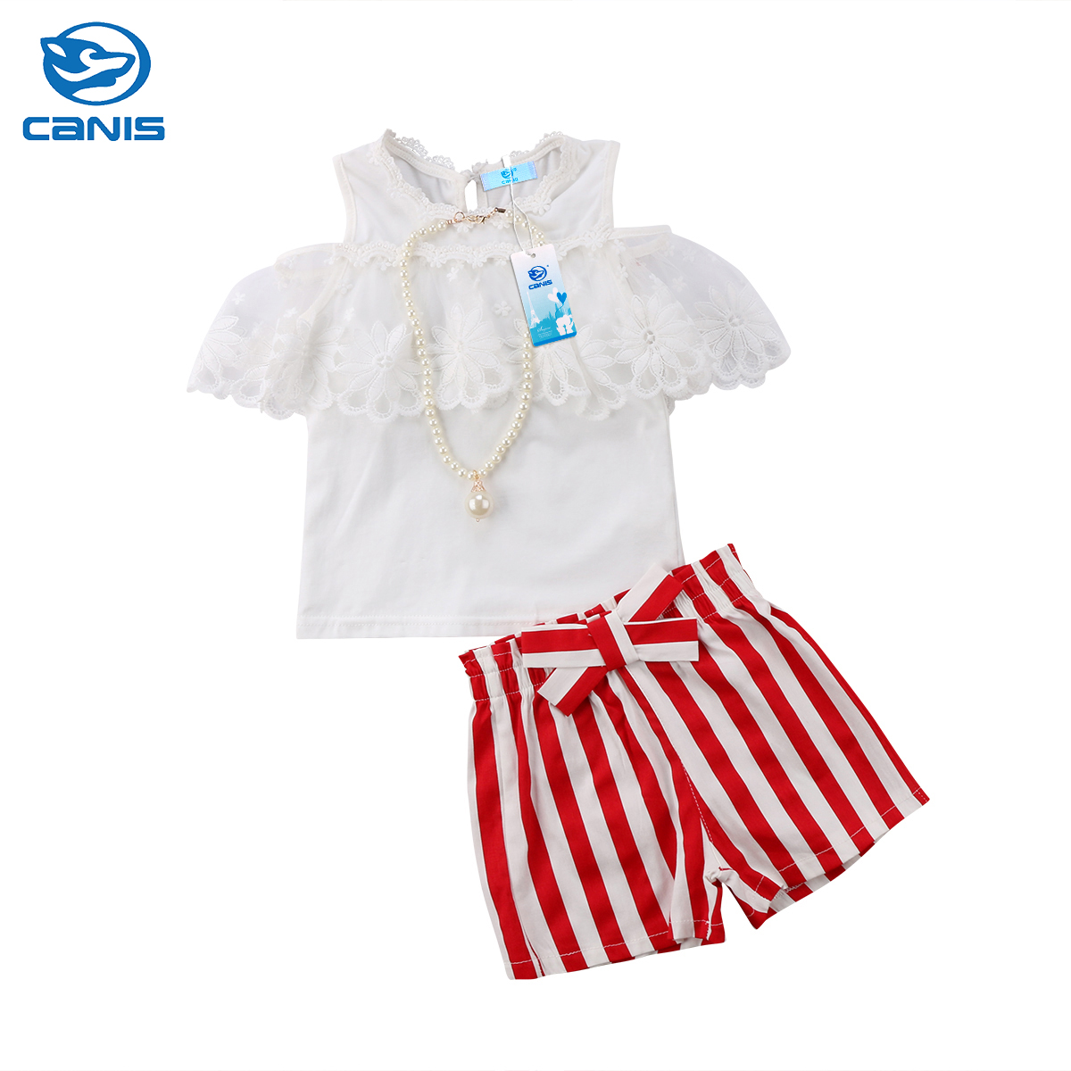 2018 Brand New Summer 2PCS Toddler Infant Kids Baby Girl Clothes Lace Off Shoulder Tops + Shorts Striped Pants Outfits Set 2-7T summer casual denim newborn toddler baby girl clothing kids off shoulder crop tops shorts outfit clothes set