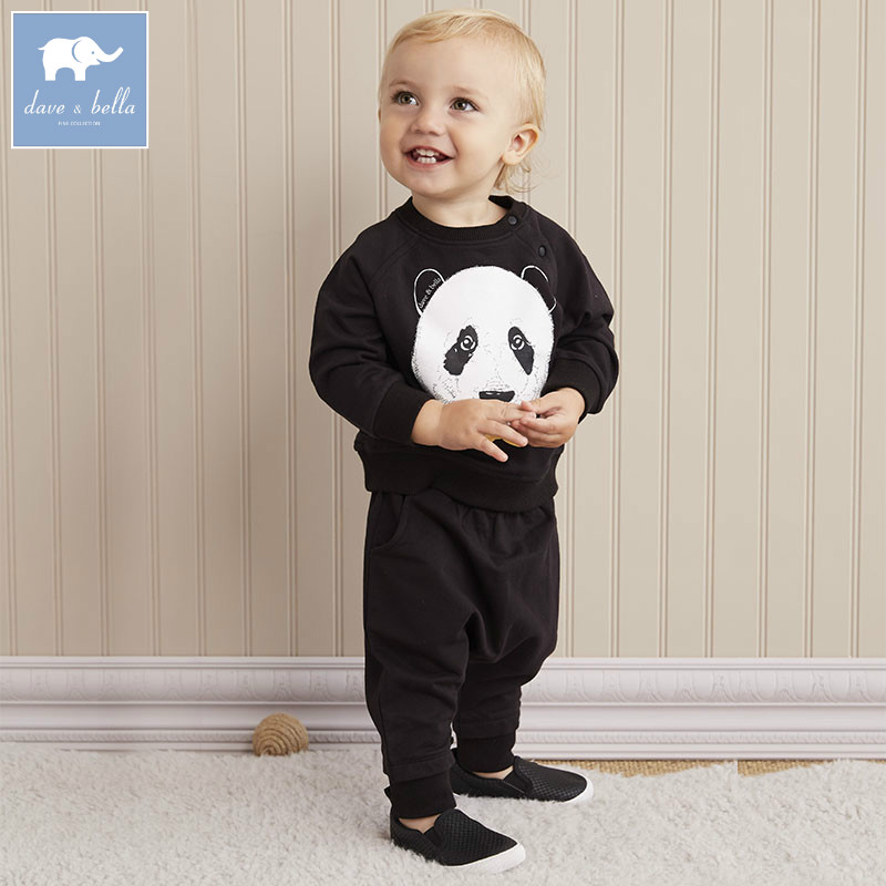DB5894 dave bella autumn infant boys Active clothing sets panda printed children suit high toddle outfits Clothing Suits вече 978 5 9533 5894 1