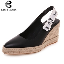 BONJOMARISA New Sweet Butterfly Knot Consice Pumps Woman Summer Platform Shoes Plus Size 32-44