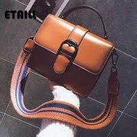 ETAILL Designer Brand PU Leather Crossbody Bag Stripe Wide Strap Handbag Buckle Belt Flap Bag Top Handle Shoudler Messenger Bag