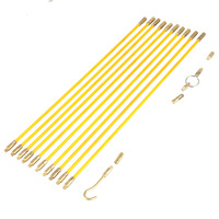 33cm Diameter 4mm Fiberglass Running Wire Cable Electrical Fish Pulling Wire Holder Tape Pull & Push Kit brass yellow 10pcs