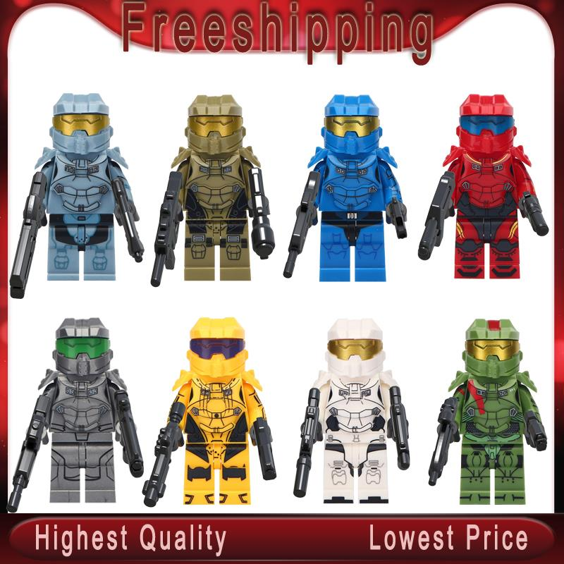 Halo Spartan Solider With Weapon TPS Shooter Game Character Jonesy Dark Voyar Building Blocks Bricks Children Toys Gifts  MG0131