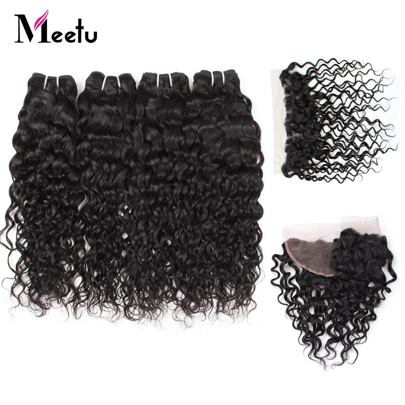 Meetu Hair 4 Bundles Malaysian Water Wave Pre Plucked Lace Frontal Closure With Bundles Human Hair Weave Non Remy Extensions