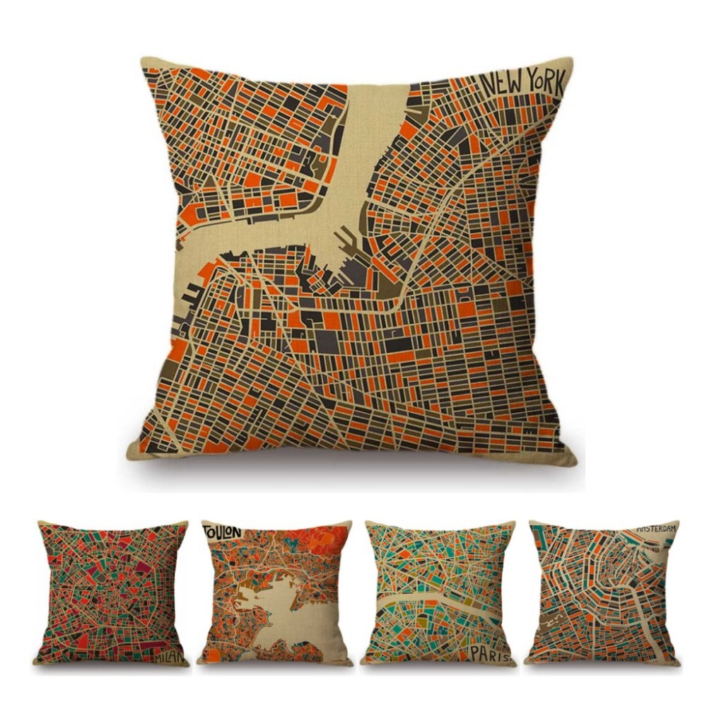 Colorful Abstract Geometric City Map Plaids Design Office Throw Pillow Cover Cotton Linen Sofa Cushion Cover For Home Decoration