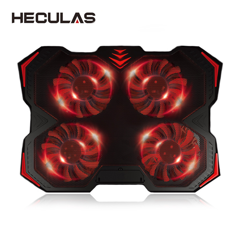 HECULAS Notebook Coolling Pad Adjustable Cooling Fan 2 USB Port Quite Laptop Cooler With Four Fans for 12-17 inch Laptop Stand