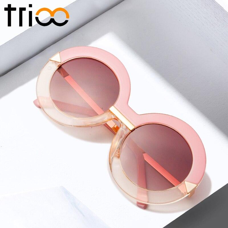 TRIOO nagy kerek napszemüveg nők rózsaszín gradiens kör napszemüveg női lunette fél átlátszó színátmenet Oculos túlméretezett