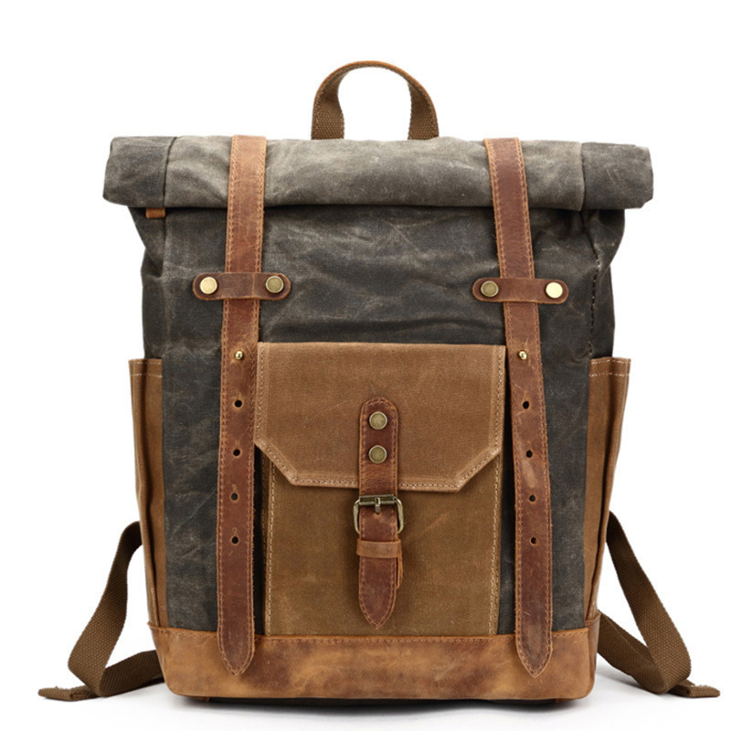 Crazy Horse Leather Canvas Pack Waterproof Men s Pack Shoulder Pack Oil Wax Travel Outdoor Backpack