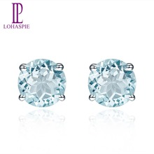Natural Gemstone Aquamarine White Gold Stud Earrings Solid 14K Fine Fashion Round 5.0mm Stone Jewelry For Women's Gift Lohaspie