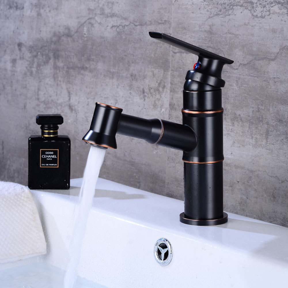 Basin Faucets Pull Out Black Bronze Color Bathroom Sink Crane Copper Sink WC Mixer Tap Hot and Cold Deck Mounted Bathroom Faucet new design pull out faucet black bronze swivel singe handle bathroom basin kitchen deck mounted sink mixer tap faucet