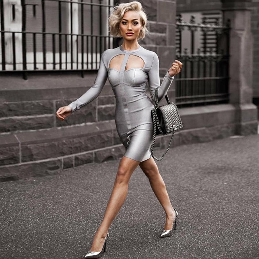 2018 New Arrivals Back Zipper Party Club Celeb Style Sexy Sheath Bodycon Grey O Neck Long Sleeve Cutout Bust Mini Bandage Dress