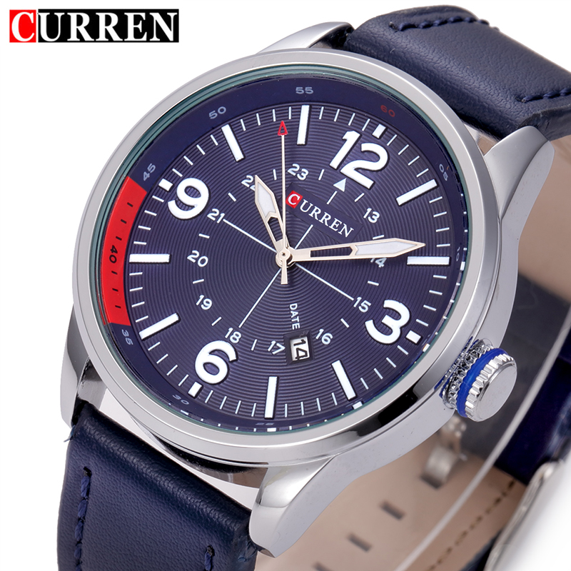 CURREN Mens Watch Fashion Casual Watches Men Wristwatch Leather Strap Quartz Sport Wrist Watch Men's Clock Male 8215 bamboo wood watches for men and women fashion casual leather strap wrist watch male relogio