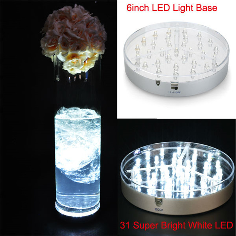 10pieces/lot  Light Base, 6inch Diameter, 31 White Color LEDs, Battery Operated ,Silver Base Mirror Center LED Under Vase Light