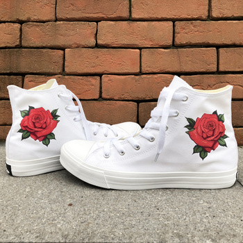Wen Design Red Rose Floral Flower Woman Rubber Soled Casual Shoes High Top White Black Girl Canvas Sneakers Valentine's Shoes